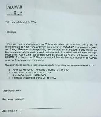 Carta de demissão sumária