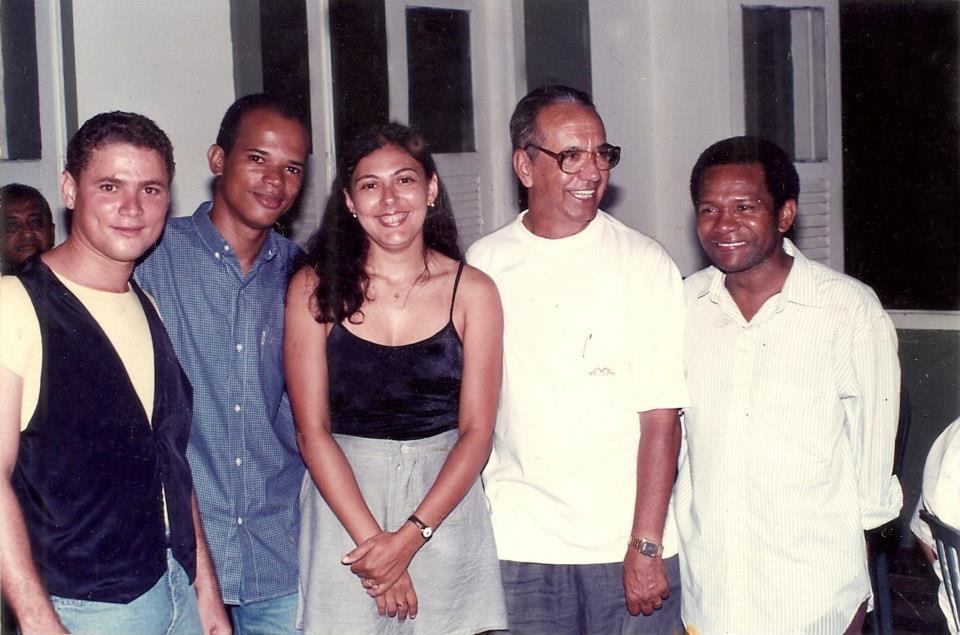 Nilton Ornellas, no ano de 1996, ao lado dos jornalistas Marco d'Eça, Décio Sá, Wal Oliveira e Manoel Santos Neto